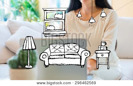 New Apartment Dream With Woman Using Her Laptop In Her Home Office