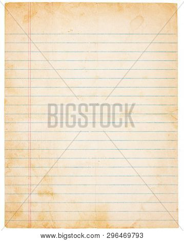Aged, Yellowing, Lined Paper With Stains And Smudges. Blank Except For Lines. Isolated On White. Inc