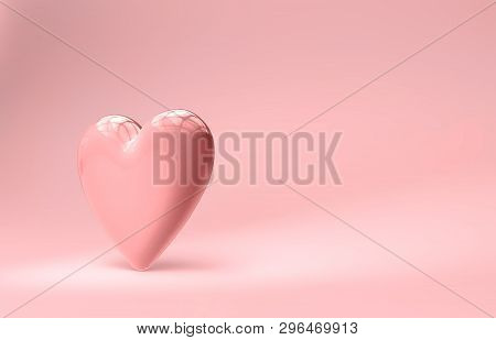 Large, Pink Heart On Softly Lit Pink Background.