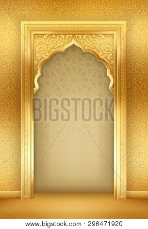 Ramadan Background With Golden Arch, With Golden Arabic Pattern, Background For Holy Month Of Muslim