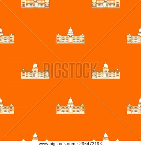 Palace Of Congress In Buenos Aires, Argentina Pattern Repeat Seamless In Orange Color For Any Design