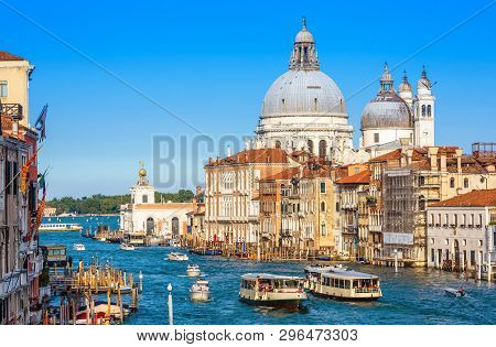 Grand Canal With Tourist Boats And Vaporetto In Summer, Venice, Italy. Romantic Water Trip In Venice