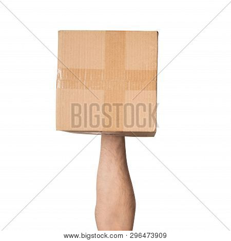 Parcel In Male Hands. Top View. Isolate