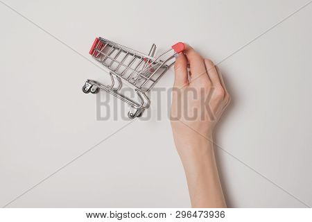 Small Red Metal Shopping Trolley In A Female Hand Isolate On A Light Background. Shopping Concept.