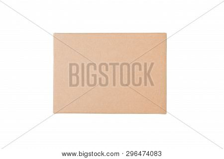 Kraft Brown Rectangular Gift Box Isolate On White Background.