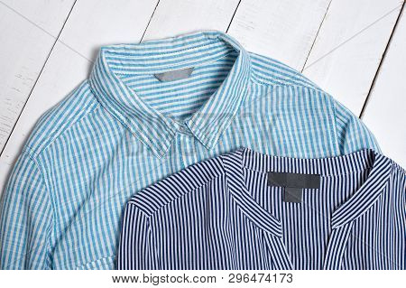 Label On Blue Striped Cotton Shirts. Fashion Concept. Close Up