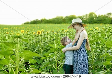 Happy Small Son Embraces Pregnant Mother Standing On A Field Of Blooming Sunflowers