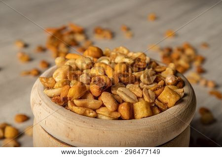 Dried Fruit In Wooden Bowl, Snack For Between Meals