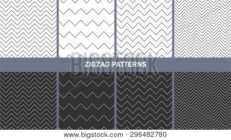 Collection Of Zigzag Patterns/ Set Of Seamless Vector Zig Zag Backgrounds