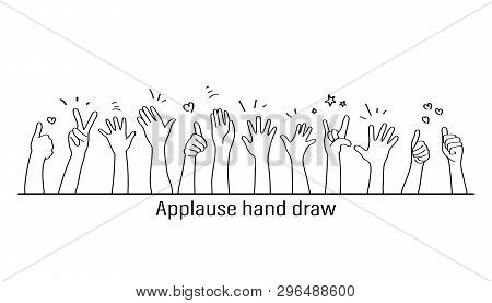 Applause Hand Draw, Vector Illustration On White Background. Doodle