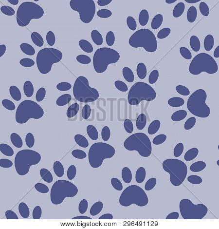 Backdrop With Silhouettes Of Cat Or Dog Footprint. Vector Illustration Animal Paw Track Pattern. Paw