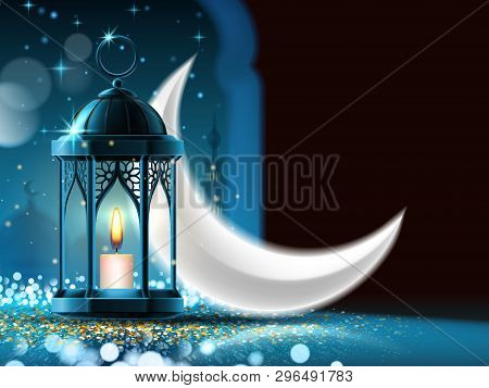 Mosque Window At Night And Eid Mubarak Greeting Near Crescent And Lantern. Ramadan Kareem Or Eid Ul