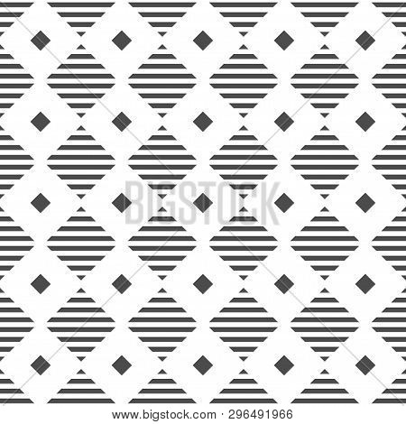 Geometric Seamless Pattern. Digital Background. Black And White Illustration. Minimalist Style.