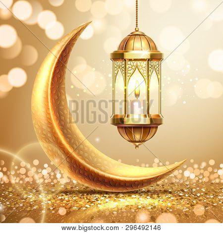 Golden crescent and lantern on ramadan greeting card. Ramazan mubarak or kareem background for arabic holiday. Al-adha and hari raya celebration. Islamic month. Religion poster. Quran theme poster
