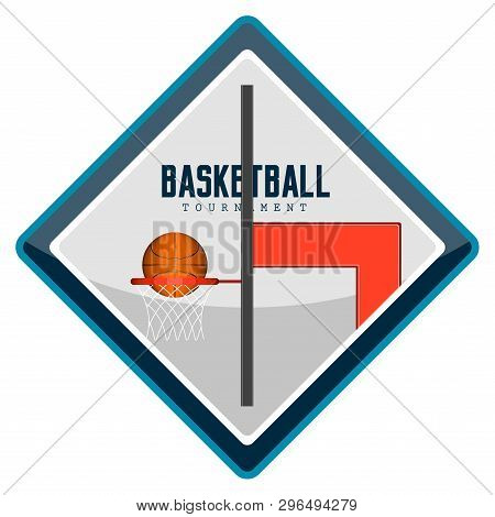 Isolated Basketball Emblem With Text. Vector Illustration Design