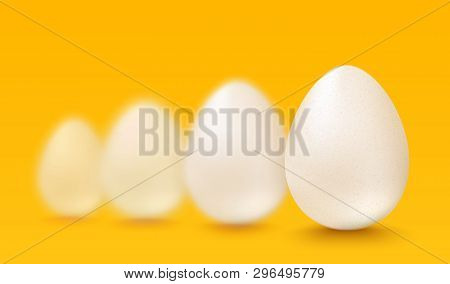 Vector Set Realistic White Eggs. Vector White Eggs On Yellow Background. 3d Eggs.