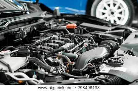 Car And Engine Service Concpet - Blurred Car Engine Room Checking Maintenance Sevice By Mechanical A