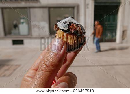 Typical Street Food In Lisbon Portugal,roasted Chestnut Castanhas Assadas