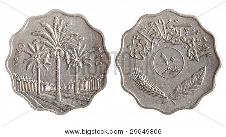 Tunisian coin isolated over the white background