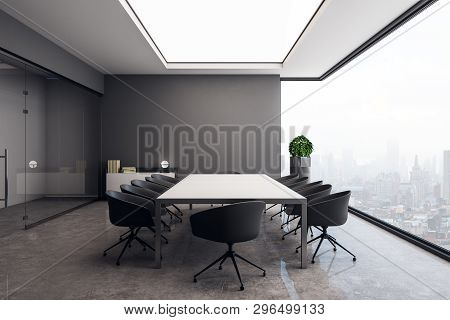 Light Concrete Meeting Room Interior With Panoramic City View And Decorative Plant. 3d Rendering