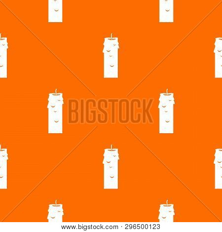 Paraffin candle pattern repeat seamless in orange color for any design. geometric illustration poster