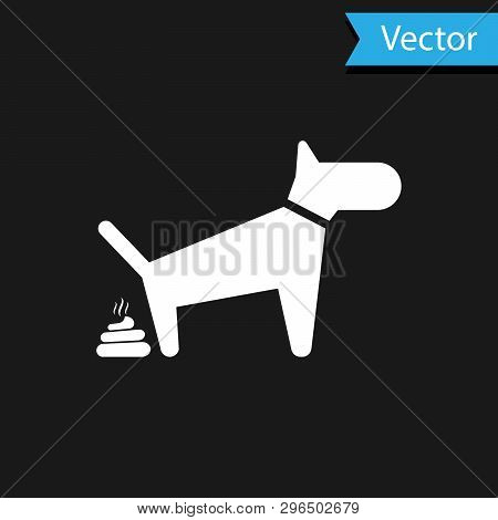 White Dog Pooping Icon Isolated On Black Background. Dog Goes To The Toilet. Dog Defecates. The Conc