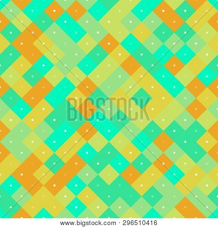 Seamless colorful repetitive pattern with yellow and turquoise pixel squares. Vector illustration for your graphic design. poster
