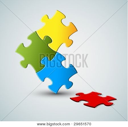 Abstract vector puzzle / solution background with one missing piece