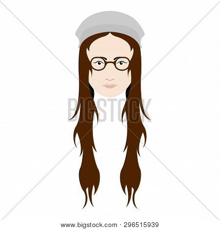 Hipster Girl Avatar With A Winter Hat And Glasses. Vector Illustration Design