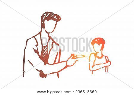 Kid, Doctor, Vaccine, Injection, Boy Concept. Hand Drawn Doctor Vaccinates A Child Concept Sketch. I