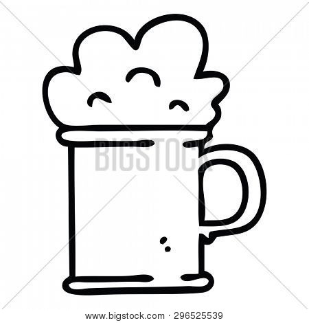 line drawing quirky cartoon tankard of beer poster