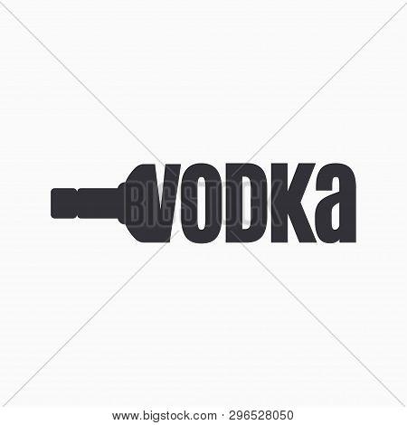 Vodka Bottle Logo. Lettering Sign Of Vodka