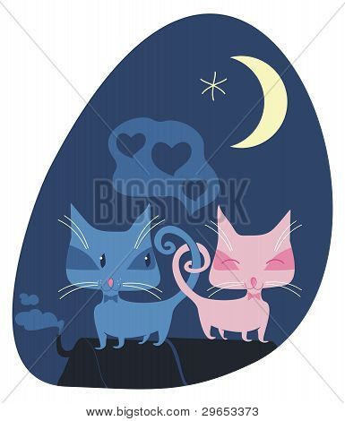 Cats couple on roof in a romantic night poster