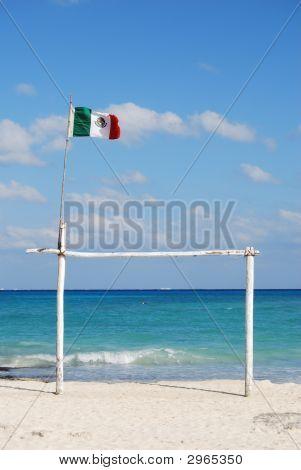 Mexican Flag On Beach