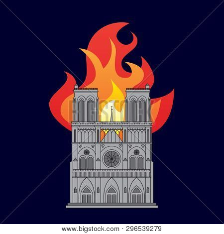 Notre Dame Cathedral in Paris, France. Colour drawing showing the building on fire at night.