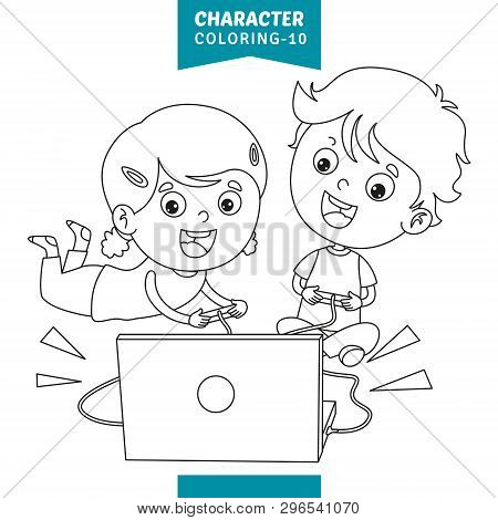 Vector Illustration Of Cartoon Character Coloring Page