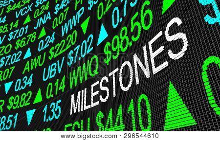 Milestones Major Highs Lows Record  Stock Market Prices 3d Illustration