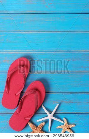 Flipflops Starfish Summer Seashore Blue Wood Background Vertical