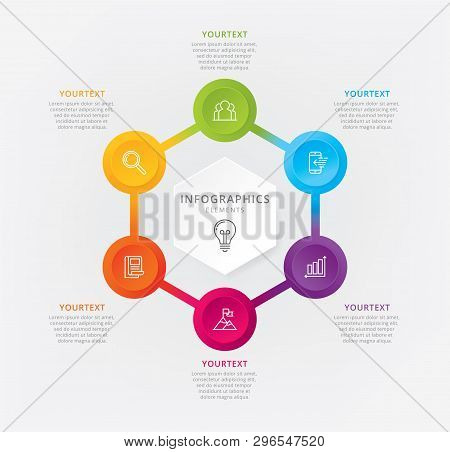 Vector Hexagon Chart Template. Vector Elements For Info-graphic, Business Process, Presentation, Hex