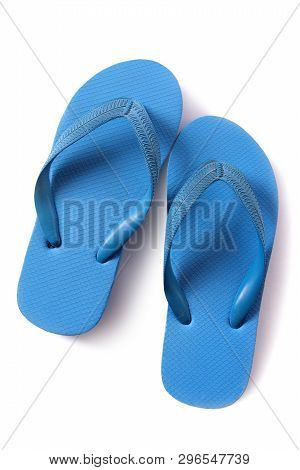 Flipflop Sandals Blue Isolated On White Background