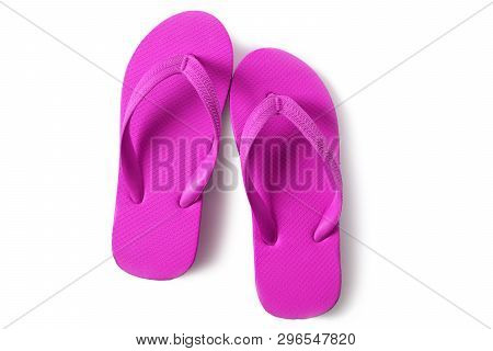 Vivid Pink Flipflops Beach Sandals Isolated On White Background