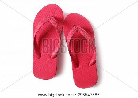 Red Flipflops Beach Sandals Isolated On White Background
