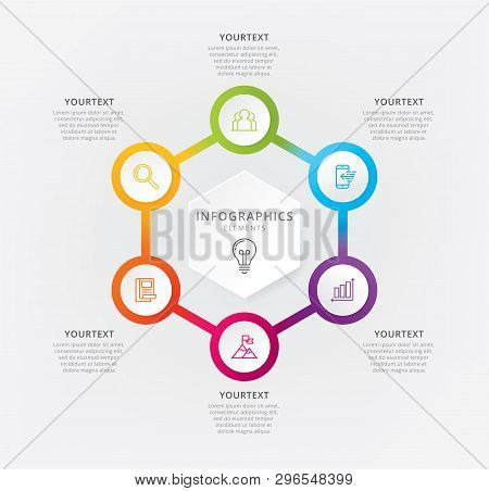 Vector Illustration Info-graphics Six Options. Vector Elements For Info-graphic, Business Process, P