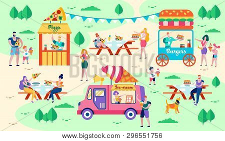 Rest And Food In City Park Vector Illustration. Food Facilities Are Located On Green Lawns. People B