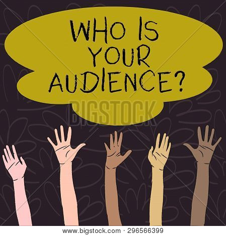 Handwriting Text Who Is Your Audience Question. Concept Meaning Who Is Watching Or Listening To It M