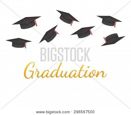 Graduation. Graduate Caps On A White Background. Caps Thrown Up. Vector Stock Illustration.