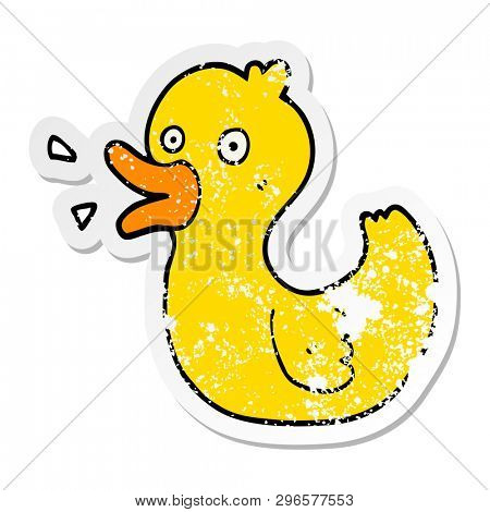 distressed sticker of a cartoon quacking duck