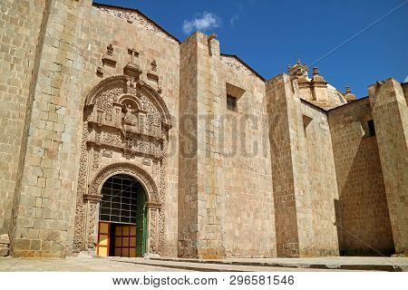 Gorgeous Exterior Facade Of The Side Door Of Puno Cathedral, Puno, Peru
