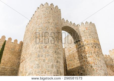Knightly, Walls of the city of Avila in Castilla y León, Spain. Fortified medieval city