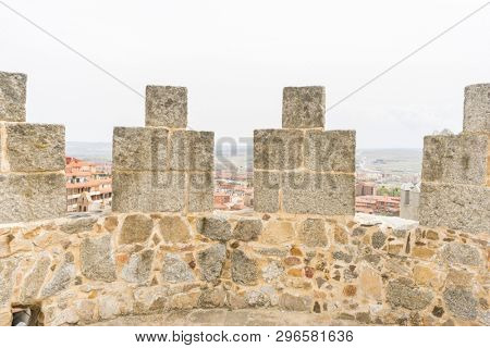Patrimony, Walls of the city of Avila in Castilla y León, Spain. Fortified medieval city